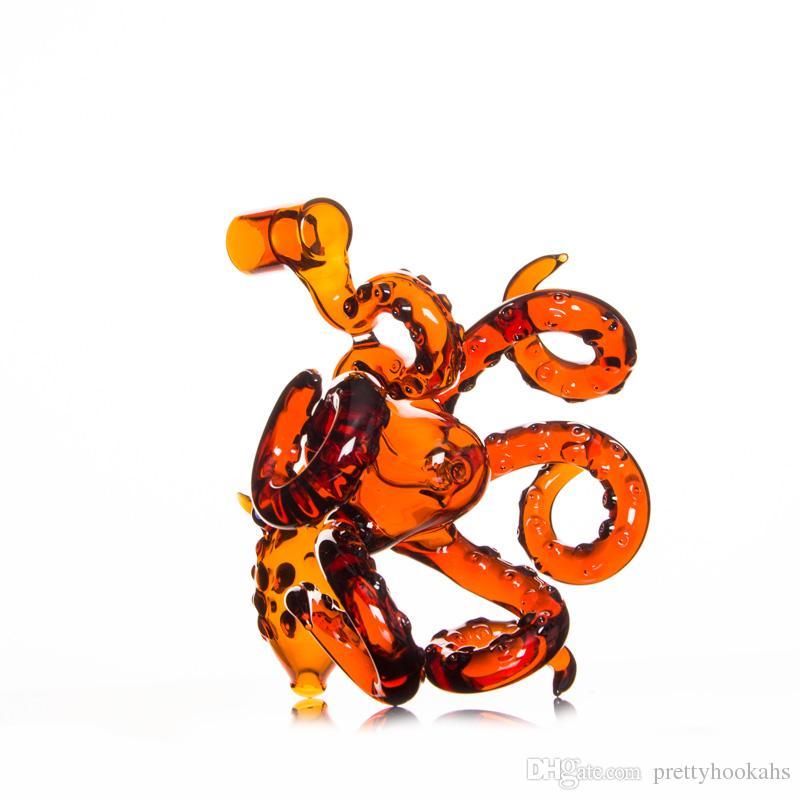 Quatre couleurs Conduites d'eau 2018 Opal Octopus Tubes en verre Rig avec Piqûres Perc 14.5mm Joint Dab Bubble