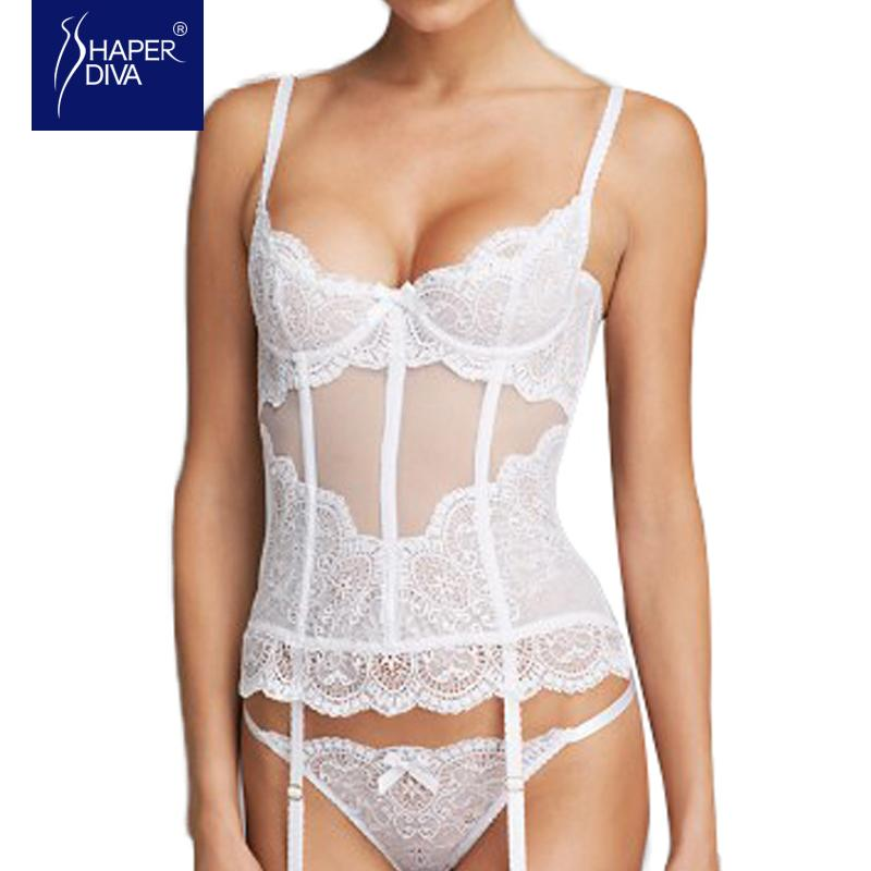012f3ab5b06d0 2019 Shaper Diva White Overbust Corset Sexy See Through Mesh Slimming Bridal  Lingerie Sexy Lace Up Ribbon Lingerie Corset Tops From Xx2015