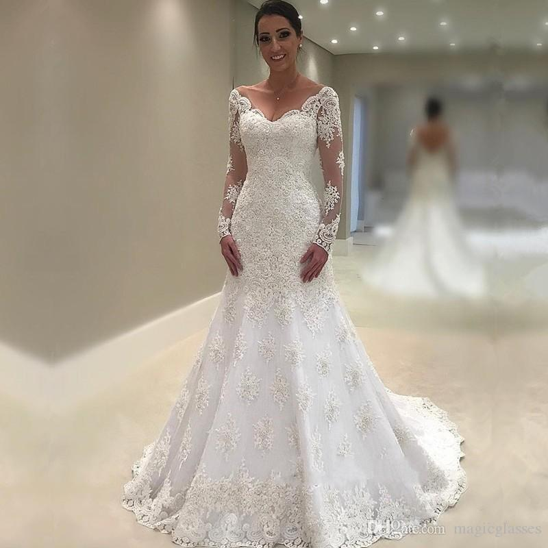 5c80909297 Vintage Illusion Long Sleeves Wedding Dresses V Neck Lace Mermaid Wedding  Dress Sweep Train Low Back Sexy Country Style Bridal Gowns Cheap Discount  Wedding ...