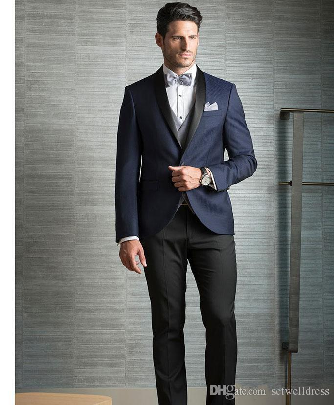 Classic Cheap Three Pieces Dark Navy Men Suits For Wedding Slim Fit Groomsmen Tuxedos One Button Formal Men Business Suit (jacket+pant+vest)