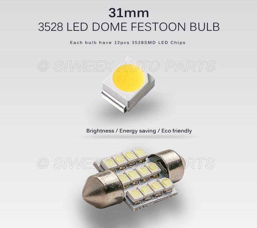 31mm 3528 1210 SMD 12 LED voiture automatique feston Dôme Intérieur Lampes Lampe Ampoule pour DC 12V Bleu / Vert / Jaune / Rouge