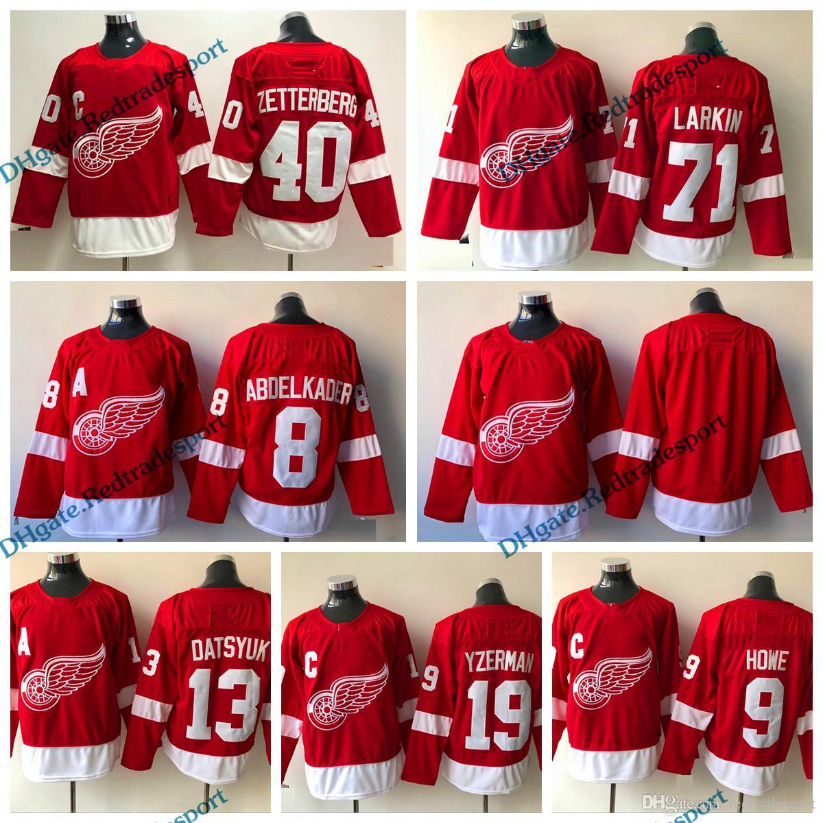 2019 2018 Detroit Red Wings 8 Justin Abdelkader 71 Dylan Larkin 40 Henrik  Zetterberg 9 Gordie Howe Steve Yzerman 13 Pavel Datsyuk Hockey Jerseys From  ... dfd98bb29