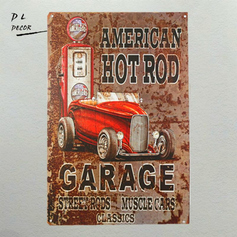 2018 American Hot Rod Garage Wall Decor Car Gas Oil Route 66 Vintage