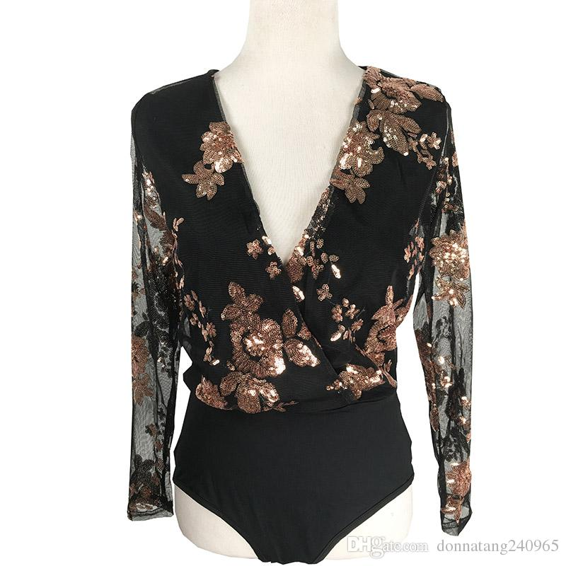650dd6cfacbdbb New Arrived Sexy Gold Sequin Black Mesh Bodysuit Women Floral Printed Long  Sleeve Body Jumpsuit Club Wear Deep V Romper Combinaison Sequin Bodysuit  Bodysuit ...