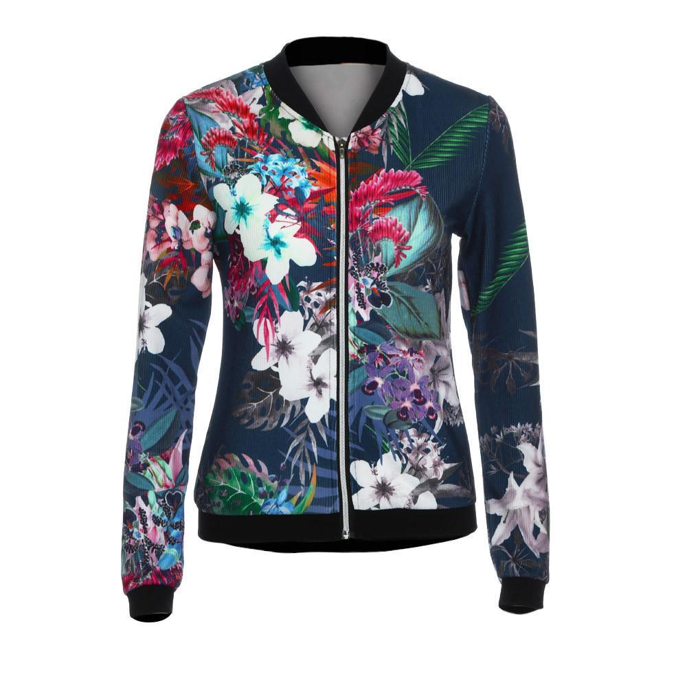 db27e444a03 Best Sale Fall Women Basic Coats Ladies Bomber Jacket Flower FLoral ...