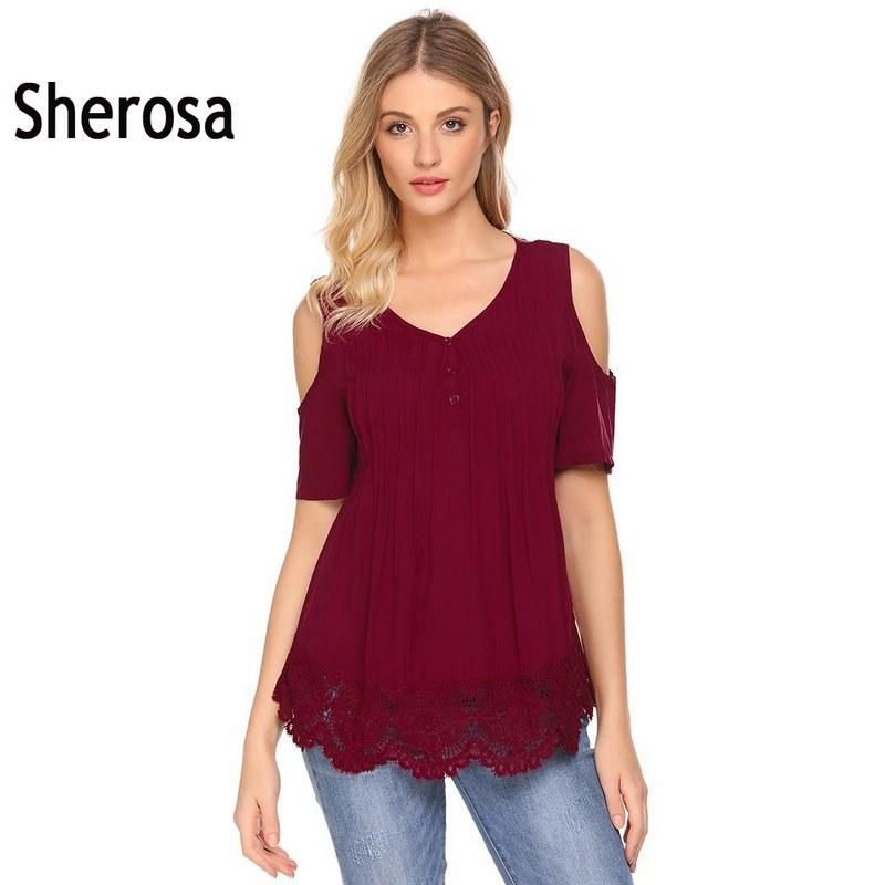 182d3ba7b57 2018 Sherosa Cold The Shoulder Lace Shirt V Neck Short Sleeve Sexy Blouse  Casual Patchwork Summer Womens Clothes Chemise Femme From Vanilla06