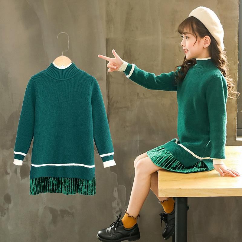 d96e65f90ea Girls Sweaters Dress Green Lace Knitted Pullovers Warm Thicken Infantil  Toddler Baby Kids Cute Sweaters Princess Winter Clothes Baby Boy Knitted  Sweater ...