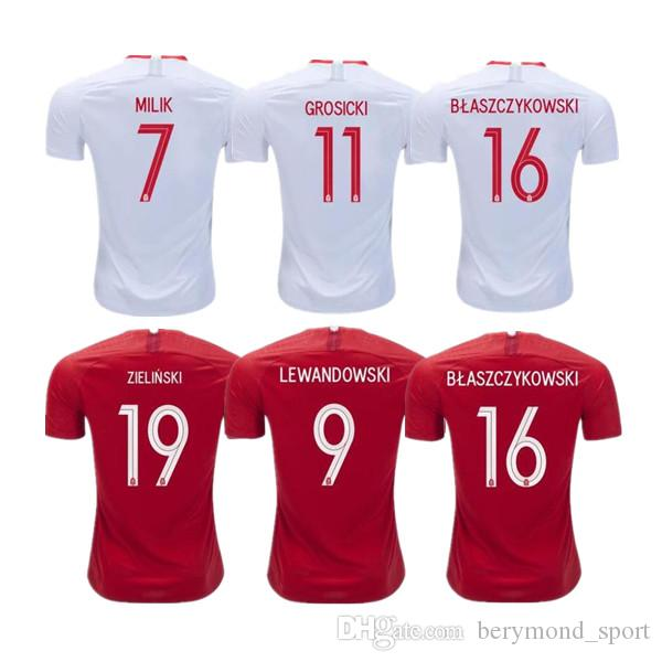 c2d393d992f authentic 2018 thai quality 2018 world cup milik home soccer jersey 2018  away linetty lewandowski krychowiak