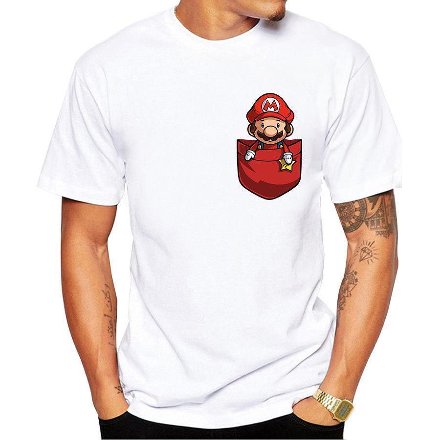 64c6ef2d0bfc Men Creative Pocket Mario Design T Shirt Custom Hipster Tees Cute Comic T  Shirt Summer Hot Sale New Tee Print Men T Shirt Top Funny Team Shirts  Trendy T ...