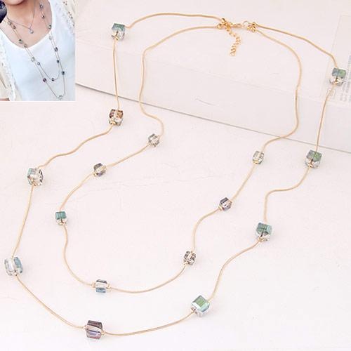 Kymyad Fashion Gold Color Chain Double layer Long Sweater Necklaces For Women Bijoux Cubic Crystal Beads Necklaces & Pendants