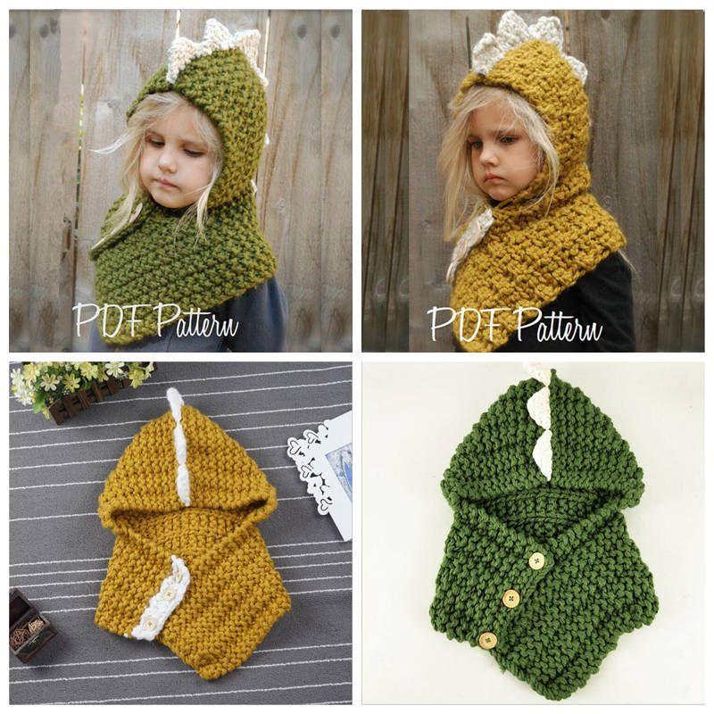 709c40e5b65 2019 Dinosaur Scarf Cap 2 In 1 Kids Winter Knitted Scarf Hat Infant Baby  Beanies Children Cartoon Crochet Hat Designer YL511 From Bling world