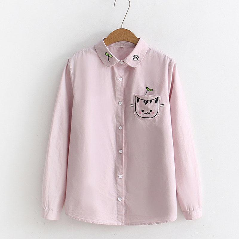 41048e994b3ccc 2019 Peter Pan Collar Blouses Women Long Sleeve Cat Embroidery On Pocket  Casual Girls Cute Shirts Tops Female 2018 Blusas Feminina From Kennethy, ...