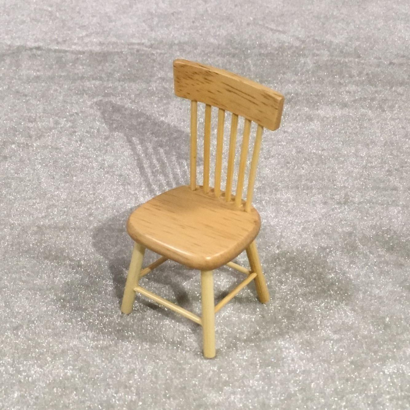 1/12 Dollhouse Miniature Dining Table Chair Wooden Furniture Set Wood Color