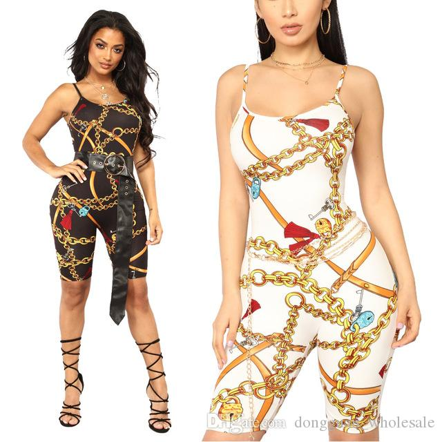 1d8a76e80f0 2019 Jumpsuit Women Spaghetti Strap Chain Print Sexy Jumpsuit Pants Women  Sleeveless Night Club Rompers Womens Jumpsuit From Dongguan wholesale