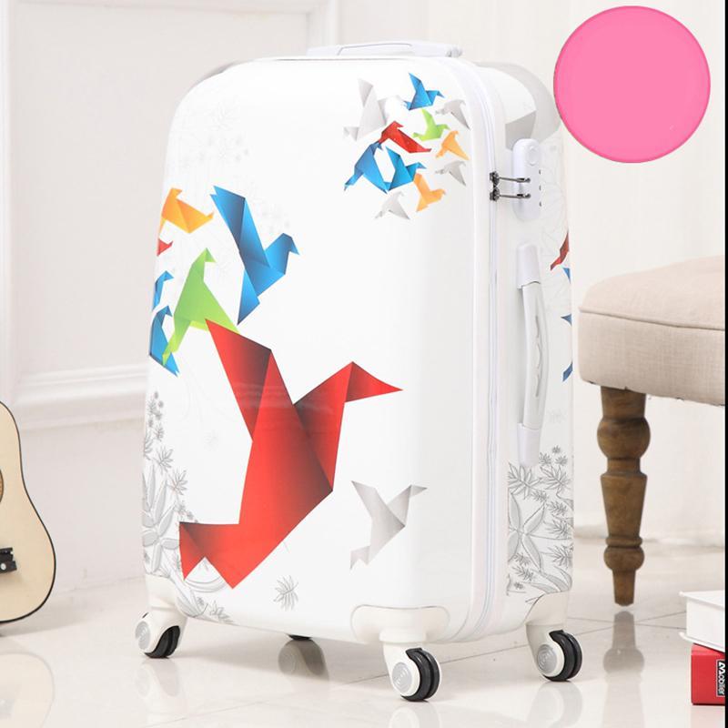 5df8ed14d Compre LeTrend 24 Pulgadas Art Paper Crane Equipaje Rodante Spinner Maleta  Wheels Trolley Travel Bag Tronco Estudiantes Llevan Equipaje A $108.48 Del  ...