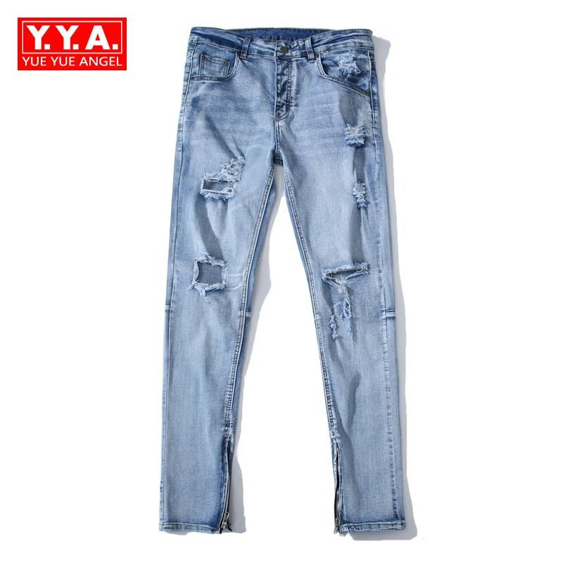a9875452d4 Compre Pantalon Vaquero Hombre 2018 Spring New Fashion Jeans Hombres  Agujero Ripped Jean Pantalones Lápiz Full Length Elástico Slim Fit Plus  Size A  88.09 ...