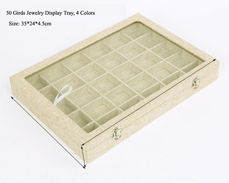 2016 New Portable Linen&Velvet Jewelry Beads Pendant Necklace Earrings Storage Tray Case 30 Compartment Display Stand Holder Box