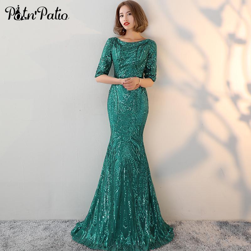 Potnpatio Half Sleeves Green Evening Dresses Long O Neck Backless