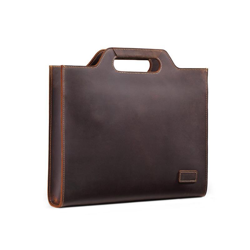 62895b73c1 Nuove borse degli uomini del cuoio genuino retro uomini del cuoio del  cavallino del cavallino degli uomini di affari del cuoio della borsa della  borsa ...