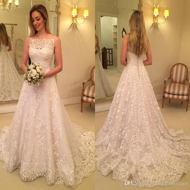 2021 مثير السباغيتي الأشرطة الرباط يزين أثواب الزفاف فساتين الزفاف زر المغطاة العودة Vestidos عالية الجودة Vestidos دي Mariee