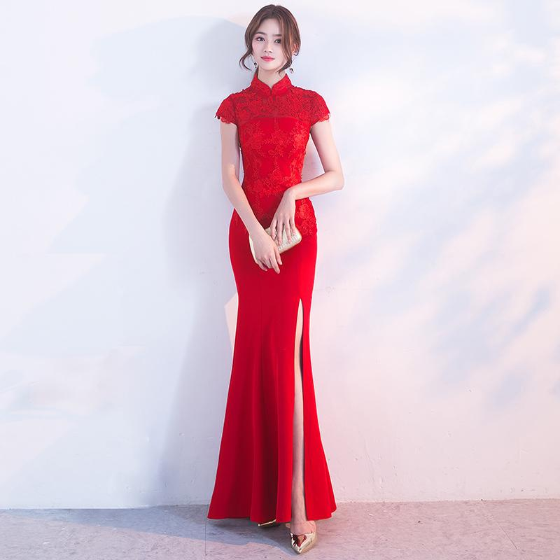Chinese Wedding Gowns: 2019 Traditional Sexy Chinese Wedding Gowns Lace Red