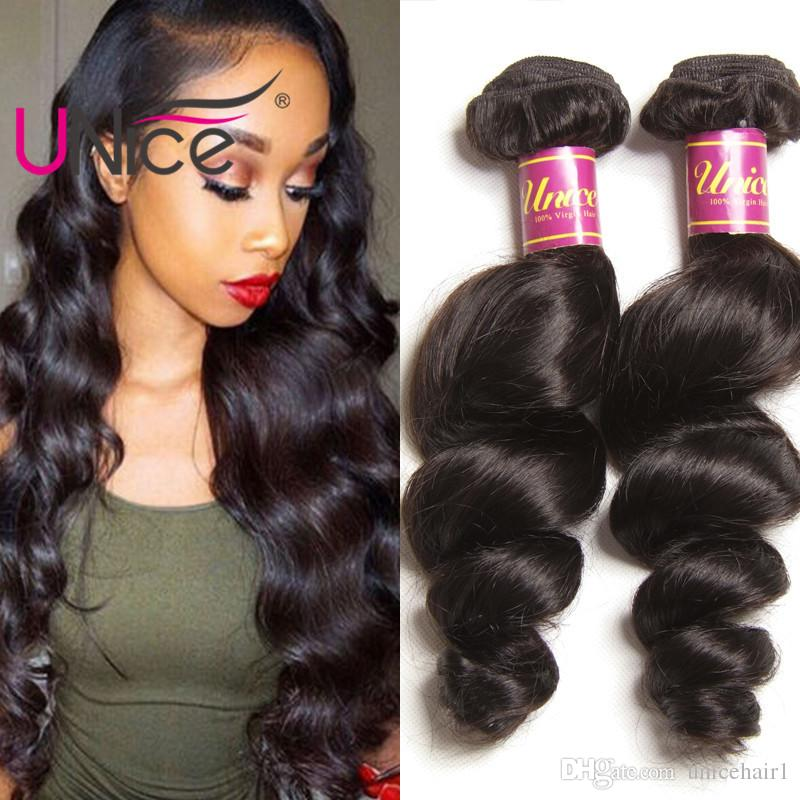 UNice Hair Loose Wave 5 Bundles Malaysian 100% Human Hair Extensions  Unprocessed Cheap Human Hair Weaves Nice Curl Wavy Bundle Best Hair Weave  For Black ... 28dcf21fc3