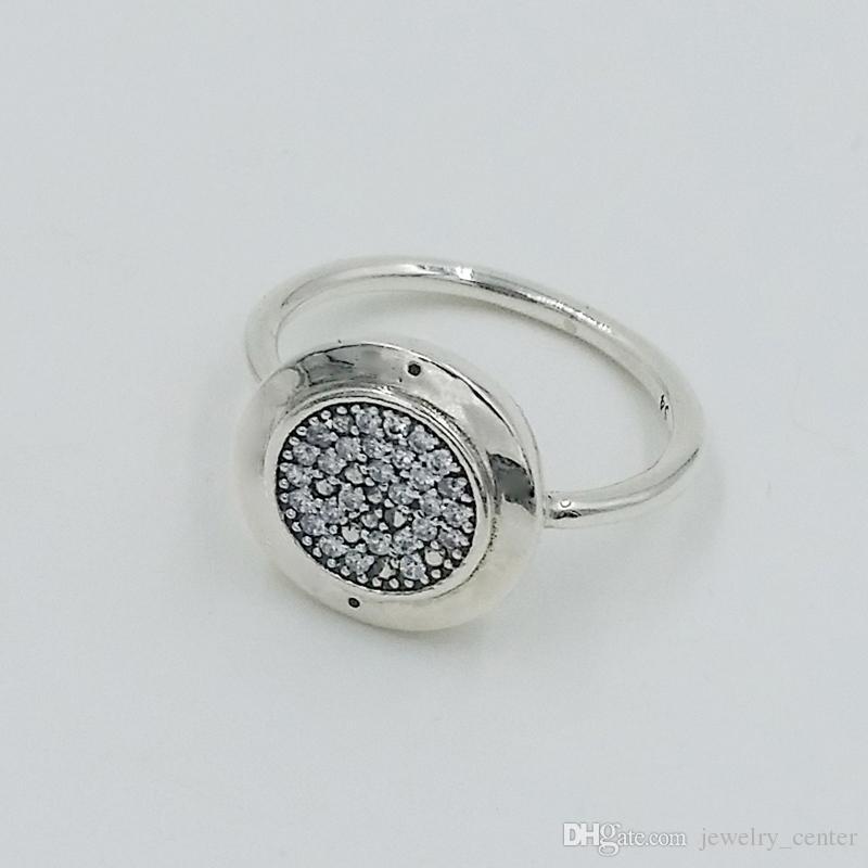 Klassisches Design authentischen 925 Sterling Silber RINGE Kompatibel mit Pandora Schmuck mit Logo Runde Scheibe CZ gepflasterten Ring