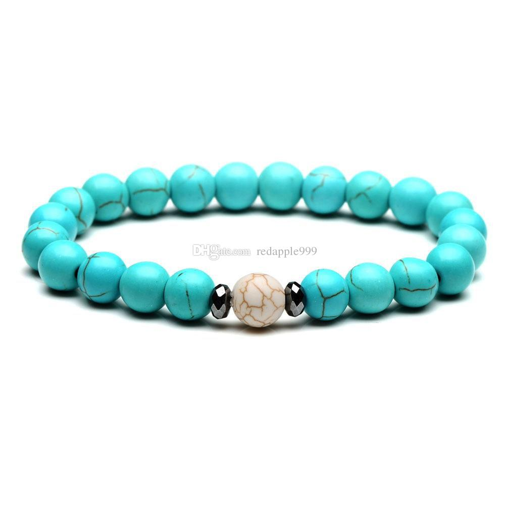 Fashion natural stone bracelet 8mm white blue turquoise bead bracelet for women men bracelet
