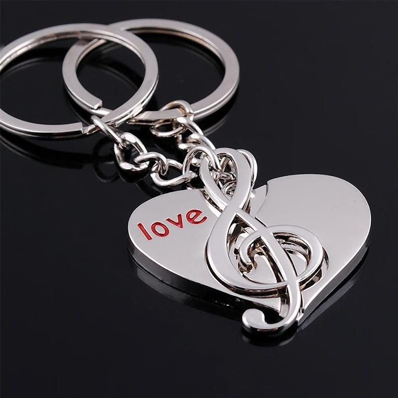 EUPNHY 1Pair Heart Shape& Musical Note Key Chain Keyrings Silver Pendant Keychain Bag Ornament Gifts for Couples