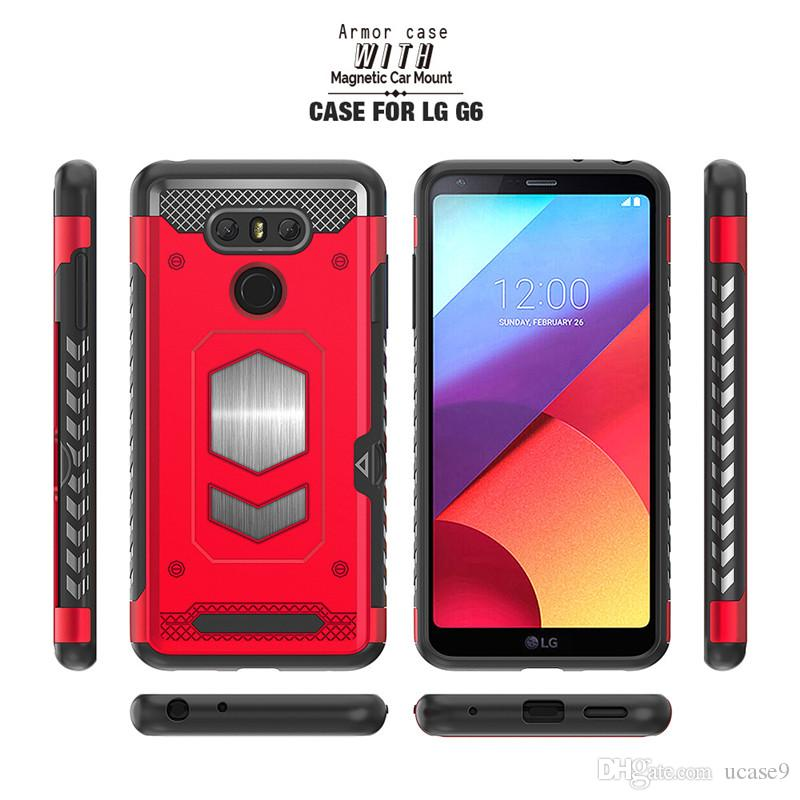 quality design c5938 b770a For Lg V30/V3 For Huawei P Smart Shockproof Anti-falling Armor Hybrid  Rugged Cover Card Slot Phone Case With Magnetic Car Mount