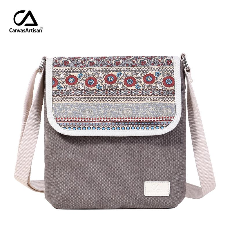 0efda943c0f8 Canvasartisan Brand New Women Shoulder Bag Canvas Reteo Messenger Bag  Floral Printing Style Female Daily Travel Crossbody Bags Y18102303 Leather  Totes Jo ...