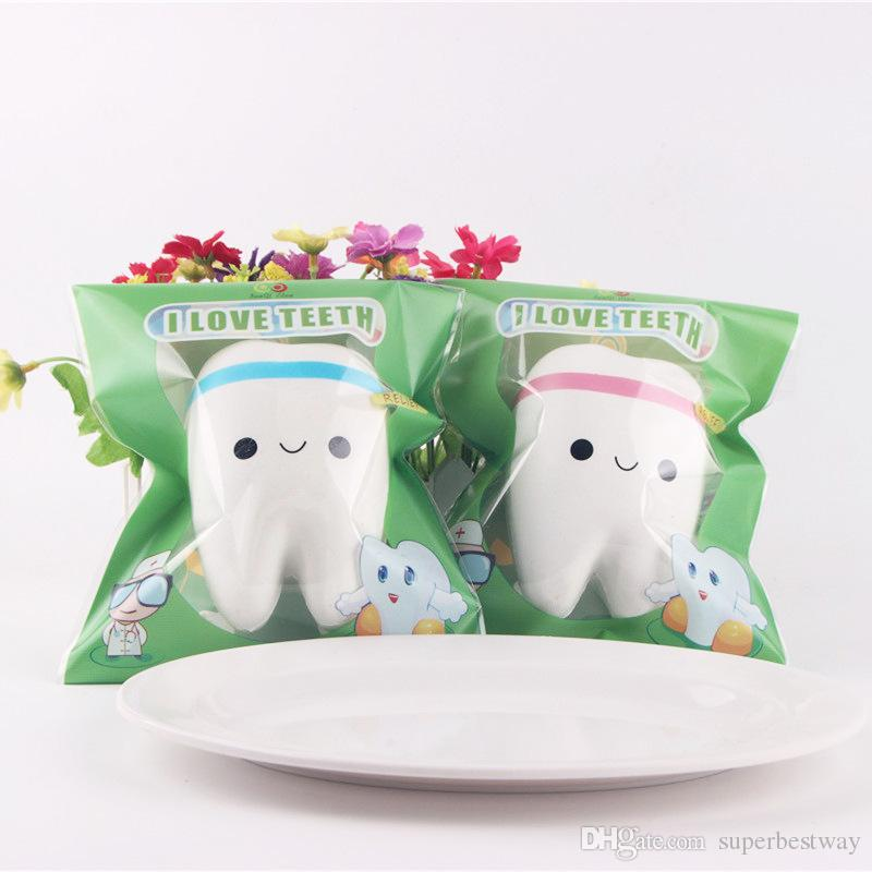 New Free Shipping Cute tooth Squishy Kawaii teeth Bag/Key/Cell Phone Straps Soft toy Simulation toys christmas gift OTH763