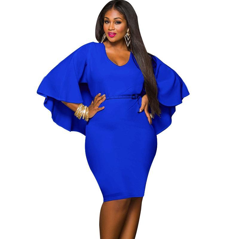 52603c872b0 Compre Mulheres Da Moda Plus Size Cape Dress Drapeado Manto Sólido Bodycon  Partido Vestido Lápis 2018 New Club Vestidos Curtos Vestidos De Festa De ...