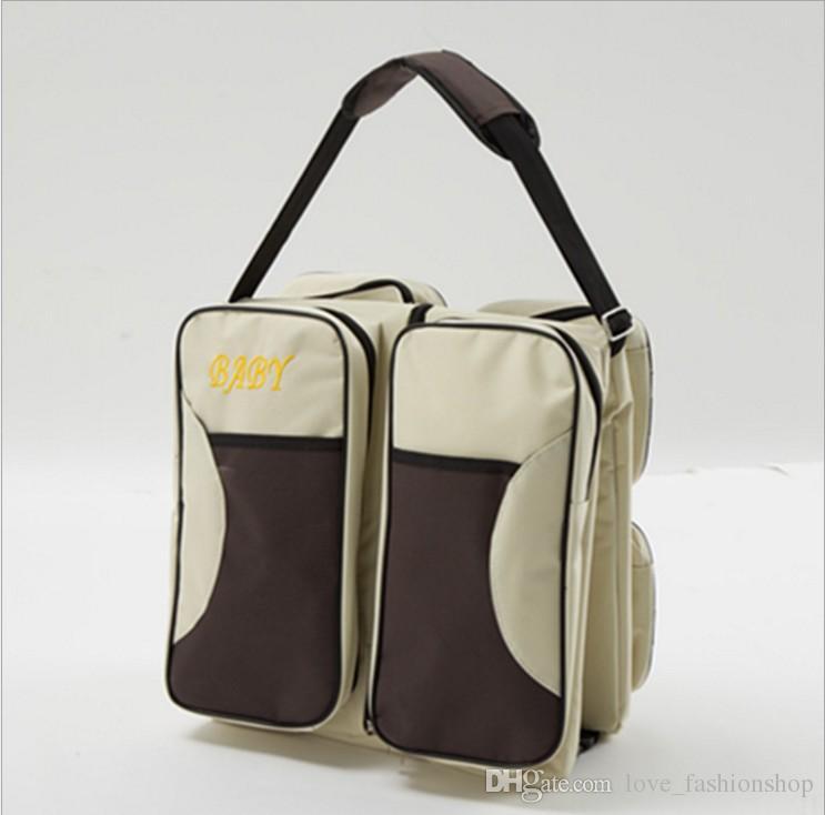 소매 휴대용 휴대용 접는 아기 침대 가방 다기능 대형 엄마 가방 야외 여행 침대 유아 안전 가방 기저귀 기저귀 토트
