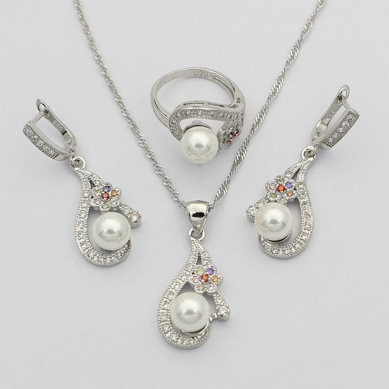 fe12d3f40fe Acheter Fleur Cubique Zircone Blanc Perle 925 Bijoux En Argent Ensembles  Pour Les Femmes Boucles D oreilles De Mariage Avec Pendentif En Pierre  Perles ...