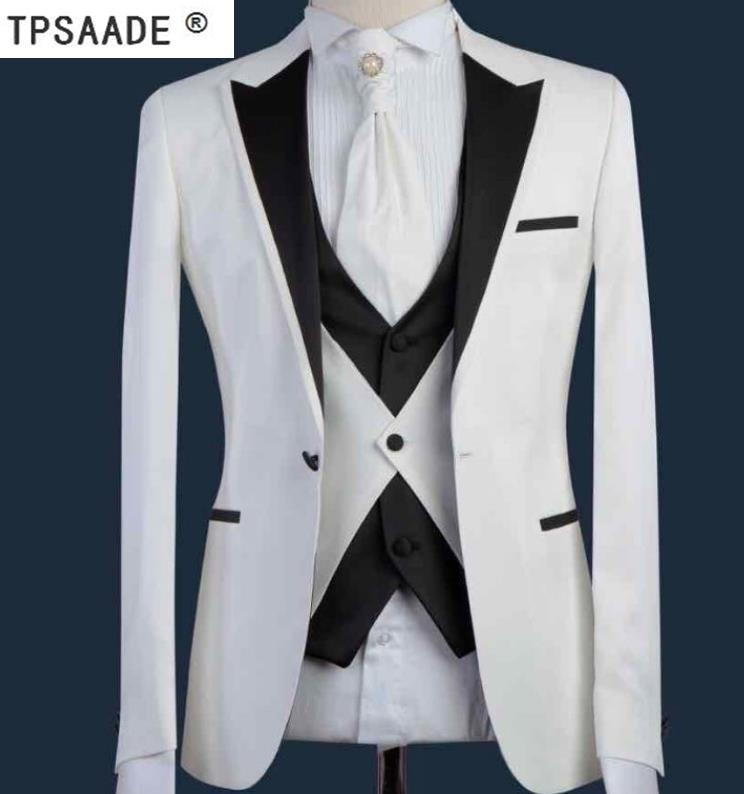 Compre Blanco Negro Moda Terno Masculino Tailor Made Wedding Prom Party  Formal Slim Fit Trajes De Hombre Abrigo Pantalón Corbata A  62.87 Del  Jerkin ... 57cd296de15