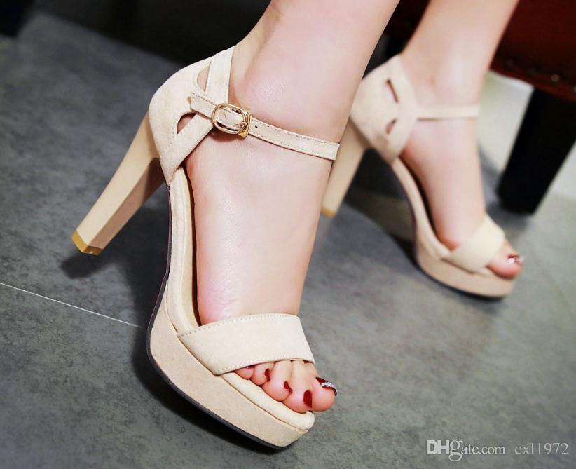 2018 nueva plataforma impermeable de verano gruesa con sandalias palabra abierta hebilla tacón alto sandalias femeninas