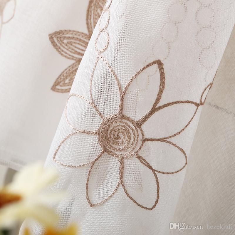 White living room embroidered window screens, garden bedroom finished curtain fabrics, custom cotton and linen curtains