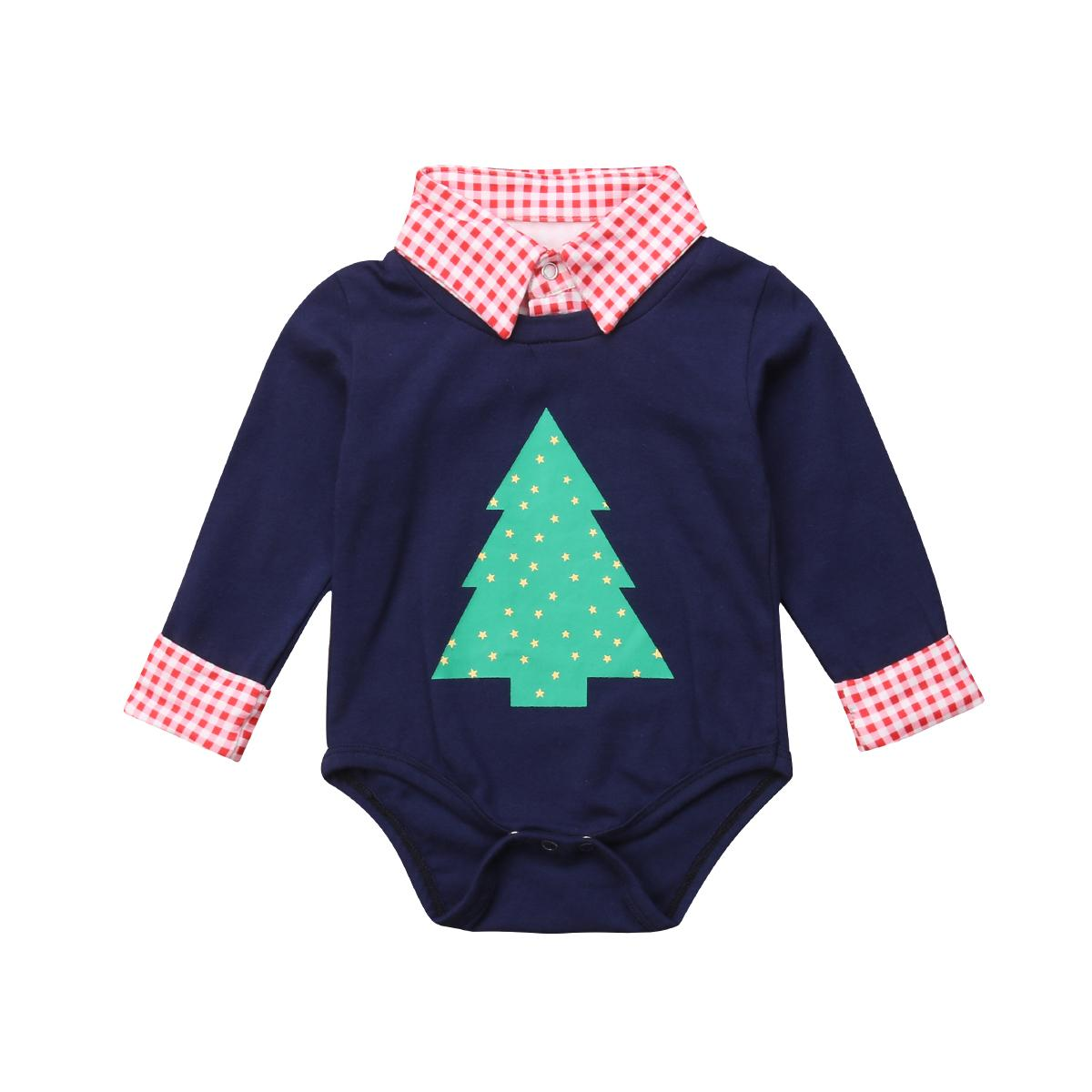 ee1831a30334 2019 Navy Blue Newborn Baby Boy Fake Two Pieces Long Sleeve Romper ...