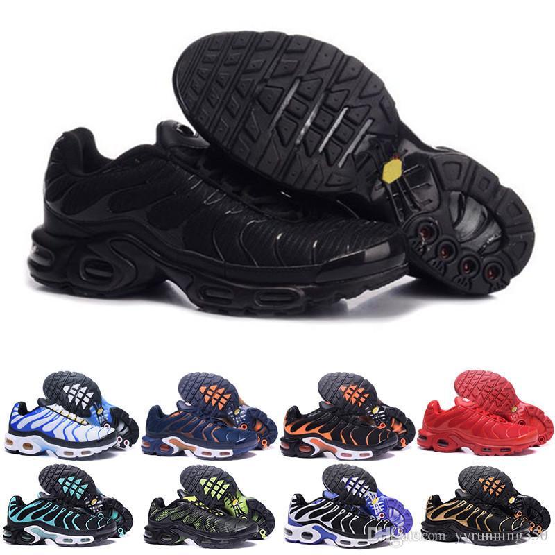 size 40 1337c ab01f Acheter Nike Tn Plus Air Max Zebra TN Plus Chaussures Hommes Chaussures  TRIPLE BLACK Noir Rouge Cool Grey Pour Chaussures De Course Male Shoe Pack  Triple ...