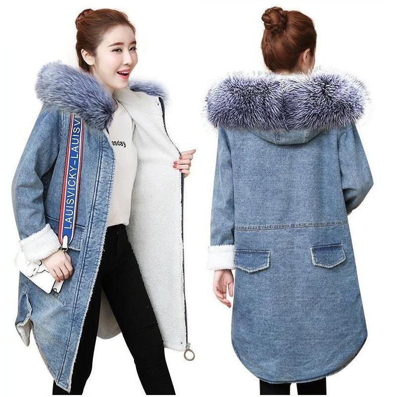 2018 New Fake Fur Winter Denim Jacket Women Warm Ladies Outwear