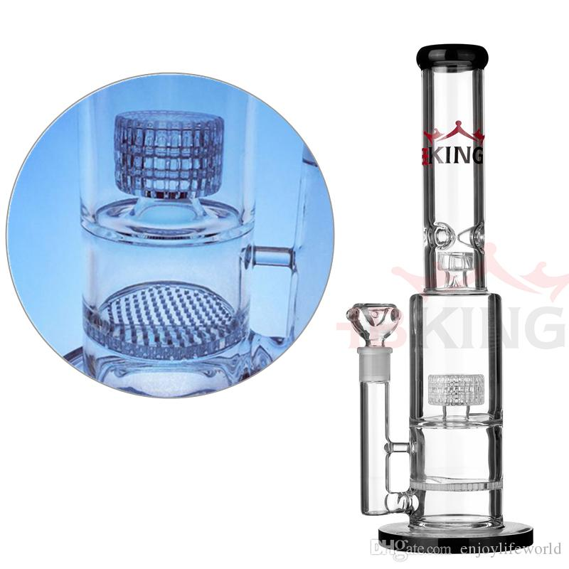 K40 double birdcage perc smoking pipe pyrex glass water pipe inline diffused hbking bong helix flare water pipe mathematix glass