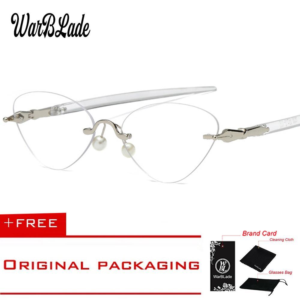 73c01aa0144 Titanium eyeglasses vintage rimless cat eye clear lens glass jpg 1000x1000  Eyeglasses product titanium