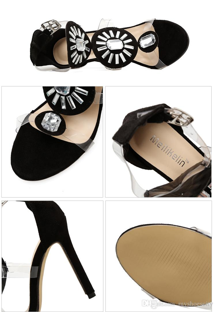 Luxury big gem crystal PVC strappy high heel shoes designer pumps sexy ladies dress shoes size 35 to 40