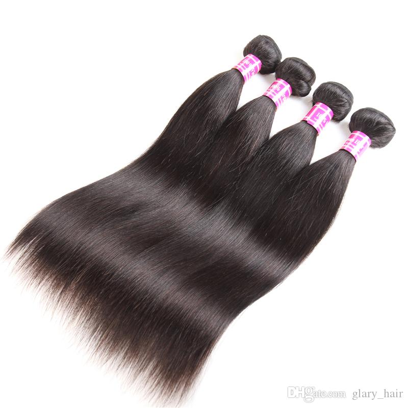 10a Işlenmemiş Brezilyalı remy İnsan saç Vücut dalga Düz Dalga 8-26 inPerulu Hint bakire Saç bakire demetleri Saç Uzantıları
