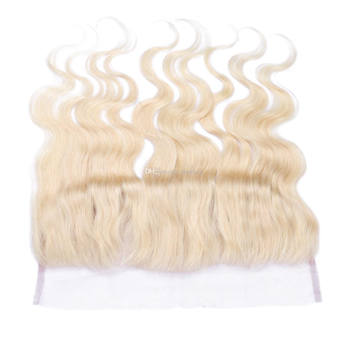 Peruanisches Menschenhaar # 613 Bleach Blonde Lace Frontal Closure 13x4 Kostenlose Mitte Drei Teil Blonde Volle Spitze Frontal