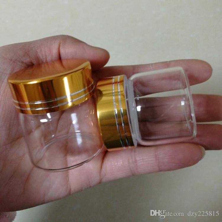 48 х 20 мл прозрачные стеклянные бутылки флаконы с золотой цвет спираль металлическая крышка свадебные конфеты хранения банку 37x40mm