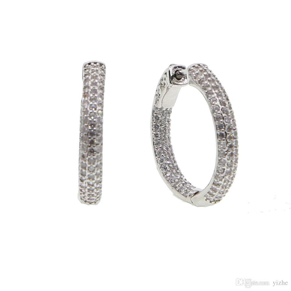 25 milímetros 50 milímetros aro pequeno huggie grande brinco de diamantes completa laboratório mf círculo pavimentada aros europeu mulheres moda dom 2018 bling do hoops projeto