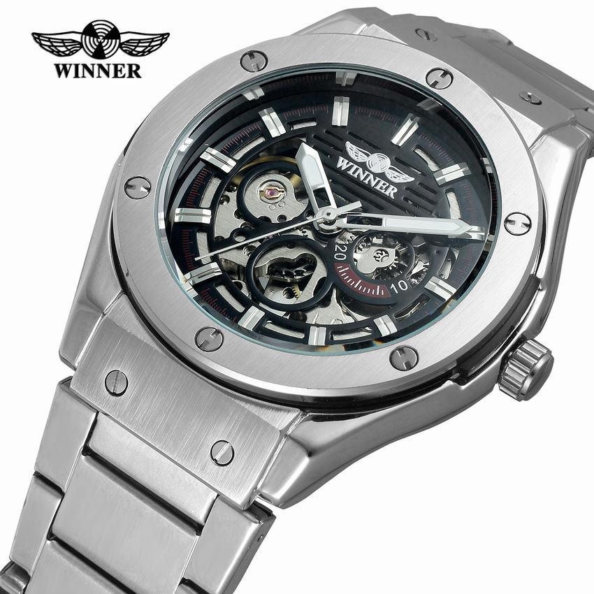 648a4bffa4d Compre Vencedor Transparente Steampunk Montre Homme Preto Único Casual Mens  Relógios Top Marca De Luxo Completa Esqueleto De Aço Relógio Mecânico De ...