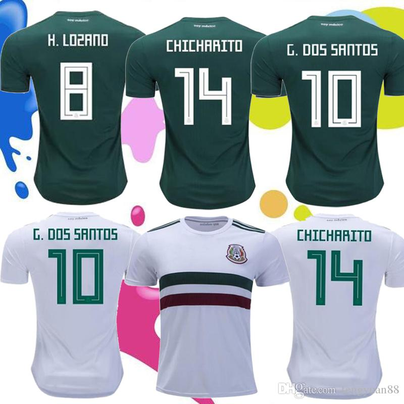 9690db1b307 2018 Mexico Soccer Jersey Home Green Away White Jerseys CHICHARITO ...